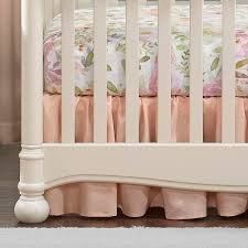 blush peach linen crib skirt gathered 16 drop