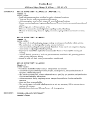 Retail Department Manager Resume Samples Velvet Jobs