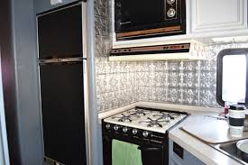 RV Kitchen Remodel Chalkboard Fridge Door Tin Backsplash Fascinating Chalkboard Paint Backsplash Remodelling