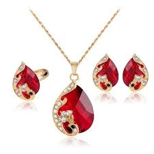 2019 crystal peacock necklace earrings rings jewelry sets gold plated red green diamond drop pendants for women wedding jewelry gift 162045 from cndream