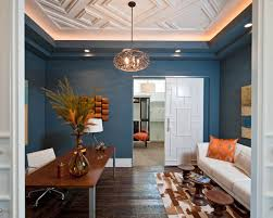 Contemporary Home Office With Recessed Ceiling Designs And White Sofa Also  Ceiling Lighting For Home Office Design Ideas