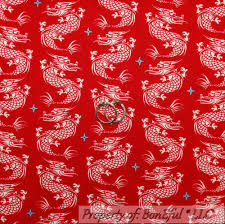 BonEful Fabric FQ Cotton Quilt Red White Blue Asian DRAGON Tattoo ... & BonEful Fabric FQ Cotton Quilt Red White Blue Asian DRAGON Tattoo Tatsu  Chinese Adamdwight.com