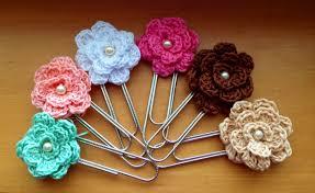 Flower Paper Clips Crochet Jumbo Flower Paperclip Bookmark Crochet Bookmarks