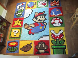 64 best Mario quilts images on Pinterest | Cross stitch patterns ... & Super Mario Quilt by Semi-organized Chaos Adamdwight.com
