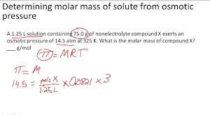 Determining Molar Mass Of Solute From Osmotic Pressure
