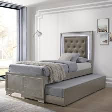 Lyssa Glam Full Bed with Upholstered LED Headboard and Trundle by Crown Mark at Royal Furniture