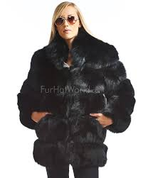 mira tiered black fox fur coat