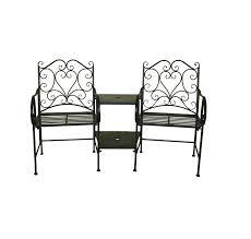 bentley garden heart shaped wrought iron companion seat love seat white black