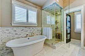 ... Bathroom, Cool Master Bath Remodel Master Bathroom Showers Bathtub  Window Wall Glass Door Towel Table ...