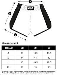 Fairtex Size Chart Shorts Muay Thai Goods