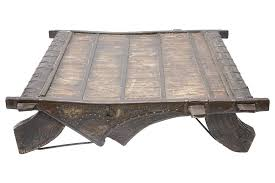antique ox cart coffee table indian carved
