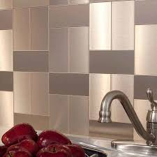 Metal Wall Tiles For Kitchen Show Details For Aspect 3x6 Brushed Champagne Short Grain Metal
