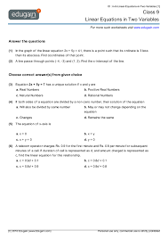 Write an algebraic expression that describes the following word phrase, using the letter `a` for the unknown number. Grade 9 Math Worksheets And Problems Linear Equations In Two Variables Edugain Global