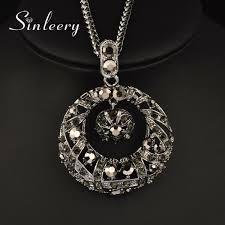 details about retro luxury black crystal circle pendant long necklace for women black chain