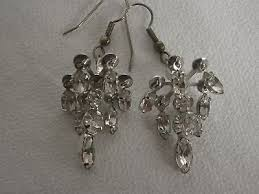 vintage clear crystal chandelier earrings