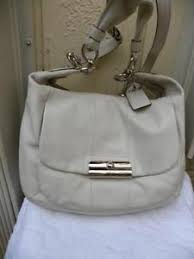 Image is loading COACH-LARGE-KRISTIN-16787-OFF-WHITE-LEATHER-SHOULDER-
