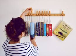 ... Large Size Cool Hanging Book Rack On Furniture With The Green Head ...