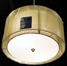 sheer burlap drum pendant light plug in fx possini euro bronze with double shade ceiling hanging shades wide white lighting chandelier mid century desk lamp