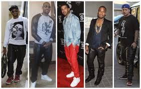 celebrity men rockin red black leather jogging pants