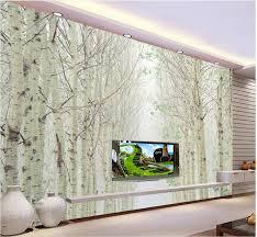 Custom 3d Behang Wit Birch Bos Landschap Muurschilderingen Foto