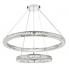 wonder led double tier ceiling pendant crystal polished chrome led polished chrome