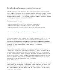 Examples Of Performance Review Job Performance Evaluation Sample Review Examples Comments