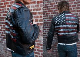 burnmethod biker rock motorcycle jacket american flag flag usa