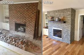 a dated brick fireplace gets a fresh new look with norwich stacked stone in birchwood color