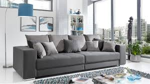 Bigsofa Adria Sofa In Stoff Grau Couch Mit Vielen Kissen