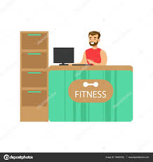 fitness club reception counter male receptionist and computer fitness club reception counter male receptionist and computer healthy lifestyle and fitness set of illustrations person ing gym vector by