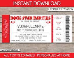 Concert Ticket Invitations Template Gorgeous Rock Star Invitation Concert Ticket Invitation Rock Star