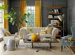 gray and yellow furniture. Decorating A Living Room With Gray Walls Yellow Paint Furniture And E