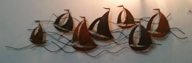 picture of metal wall art sailing boats