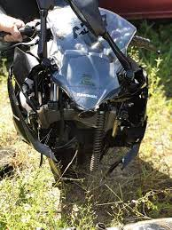 Crashed my ninja 400 yesterday. Always wear a helmet and jacket guys...Or,  if anything, a helmet. I'm alive because of my gear. Ride safe.: motorcycles