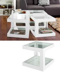 White Living Room Tables Glass Side Table Wood And Pertaining To