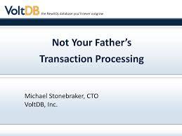Michael Stonebraker Presentation To Intuit