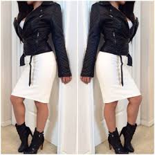 jacket con black leather jacket black style outfit skirt white dress white leather blouse blogger