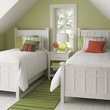 white twin bed. View In Gallery Bright Green Guest Room Featuring Brighton White Bedding From Crate\u0026Barrel Twin Bed