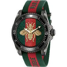 gucci watch. new gucci dive xl sport bee motif dial men\u0027s nylon strap watch ya136216 0