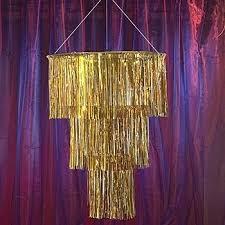 staggering chandeliers gold metallic foil fringe