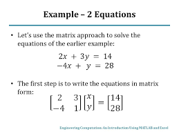 example 2 equations let s use the matrix approach to solve the equations of the earlier
