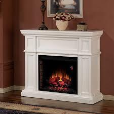 white electric fireplace mantel