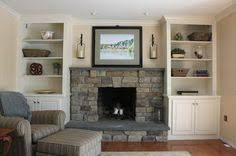 ... Built In Bookcases Around Fireplace Stuffed By Some Modern Decoration  Striped Left Right Arm Loveseat Beautiful ...