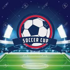 Soccer Graphic Design Soccer Cup Emblem Over Stadium Scenery Background Vector Illustration