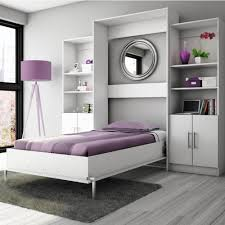Electric Murphy Bed Bedroom Twin Gloss White Wall Bed With Storage Unit With Tripod