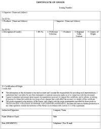 Blank Certificate Of Origin Template Origin Of The Word Free Henfa