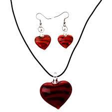 kit murano glass heart necklace earrings red lw