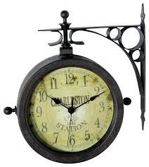 infinity instruments two sided rustic clock thermometer outdoor and large sets traditional outdo