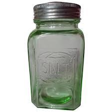 hazel atlas green embossed depression glass salt shaker
