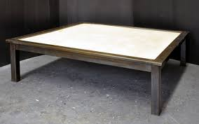 a steel and stone coffee table